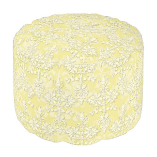 Pastel Yellow and White Damask Pattern Pouf