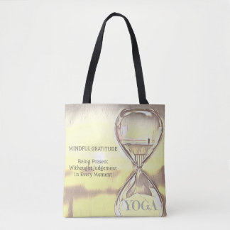 Pastel Yellow Calming Yoga Hourglass Gratitude Tote Bag