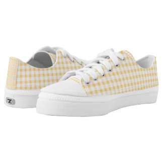 Pastel Yellow Gingham Check Pattern Low-Top Sneakers