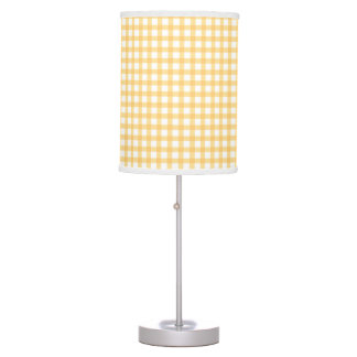 Pastel Yellow Gingham Check Pattern Table Lamp