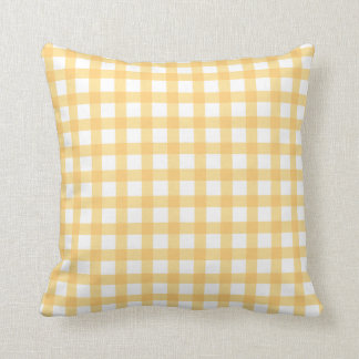 Pastel Yellow Gingham Check Pattern Throw Pillow