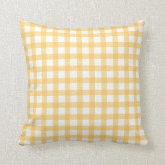 Pastel Yellow Gingham Check Pattern Throw Pillow