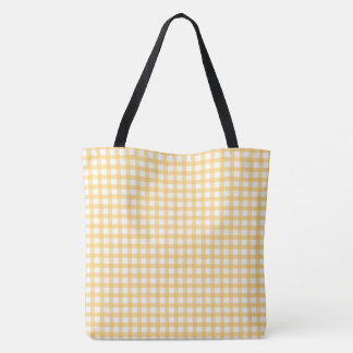 Pastel Yellow Gingham Check Pattern Tote Bag