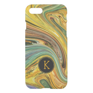 Pastel Yellow & Green Marbleized Color Pattern iPhone 7 Case