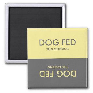 Pastel Yellow Grey + Feed Dog Pet Reminder Magnet