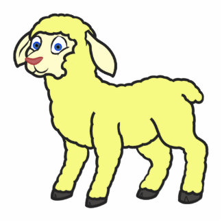 Pastel Yellow Lamb Photo Sculpture Button