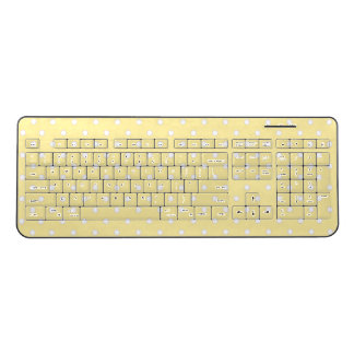 Pastel Yellow Polka Dot Wireless Keyboard
