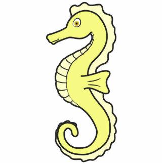 Pastel Yellow Seahorse Photo Sculpture Button