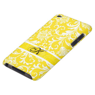 Pastel Yellow & White Floral Damasks Customized Barely There iPod Cover