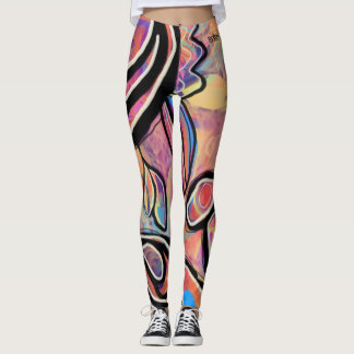 Pastels and Black Digital Floral Leggings