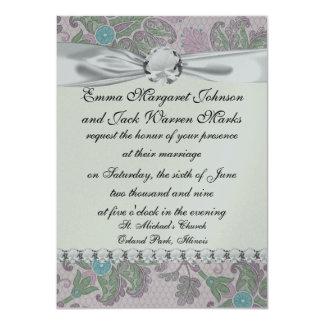 """pastels spring floral damask 4.5"""" x 6.25"""" invitation card"""