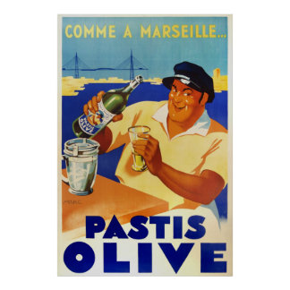 Pastis Olive comme a Marseille 1936 vintage french Poster