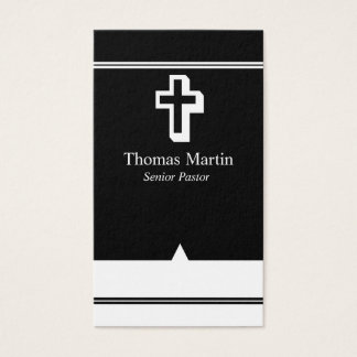 Pastor Business Cards with Cross Black White