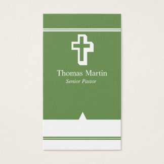 Pastor Business Cards with Cross Green White