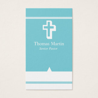 Pastor Business Cards with Cross Light Blue White