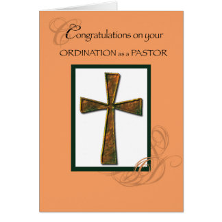 Pastor Ordination Congratulation Cross Card