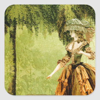 Pastoral Lady Square Sticker