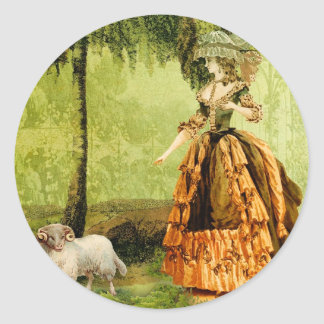 Pastoral Lady Round Stickers