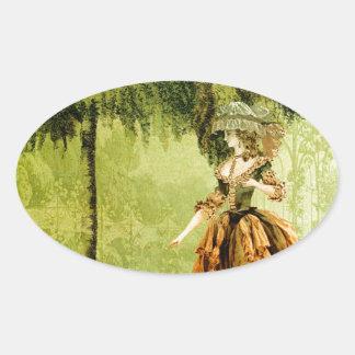 Pastoral Lady Oval Sticker