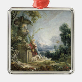Pastoral Scene, or Young Shepherd in a Landscape Silver-Colored Square Ornament