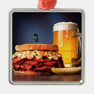 Pastrami sandwich with mug of beer metal ornament