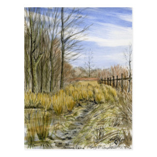 """""""Pasture Lane in Early March"""" watercolor landscape Postcard"""