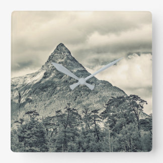 Patagonia Forest Landscape, Aysen, Chile Square Wall Clock