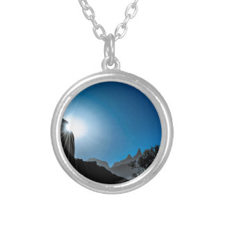 Patagonia Landscape Scene, Aysen, Chile Silver Plated Necklace
