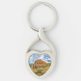 Patagonian Landscape, Argentina Silver-Colored Twisted Heart Keychain