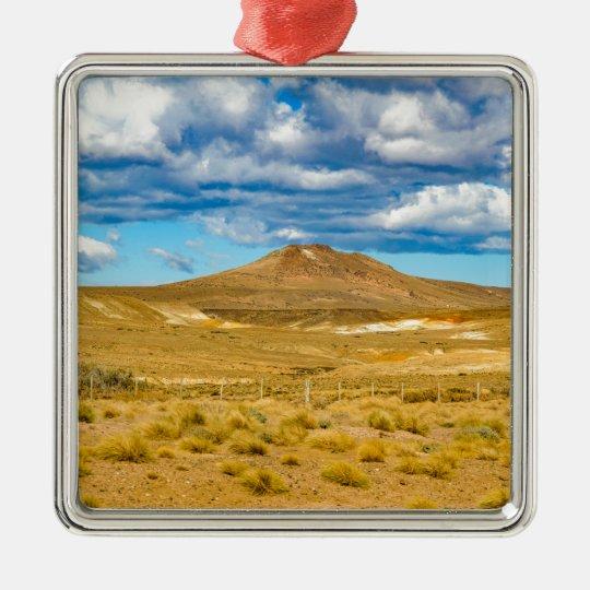Patagonian Landscape Scene, Argentina Silver-Colored Square Ornament