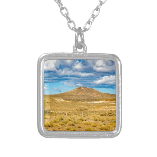 Patagonian Landscape Scene, Argentina Silver Plated Necklace