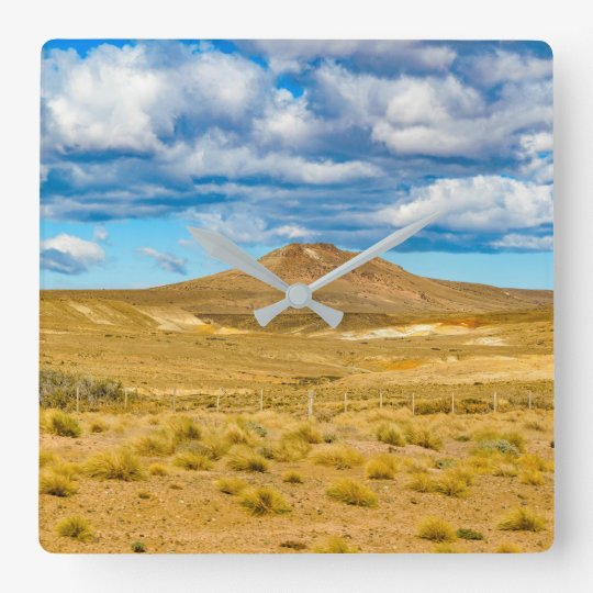 Patagonian Landscape Scene, Argentina Square Wall Clock