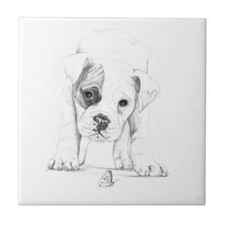 Patch A Boxer Puppy Drawing Art Tile