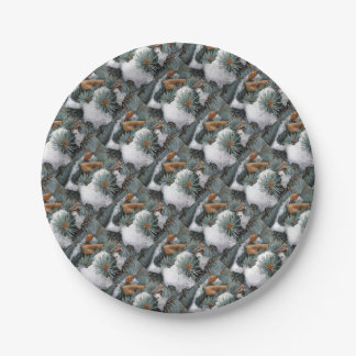 patch of snow paper plate