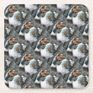 patch of snow square paper coaster