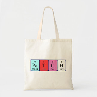 Patch periodic table name tote bag