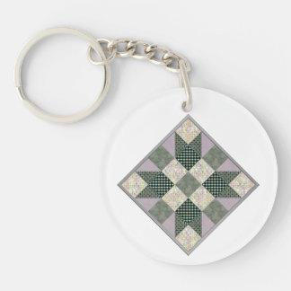 Patch Star Quilt Block Lavender & Green Keychain
