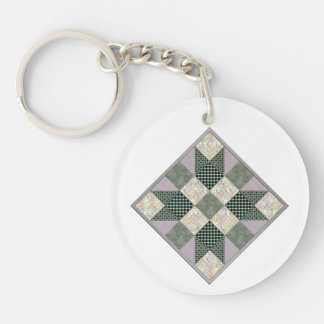 Patch Star Quilt Block Lavender & Green Single-Sided Round Acrylic Keychain