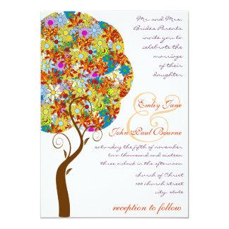 Patch Work Flower Love Tree Wedding Invitation