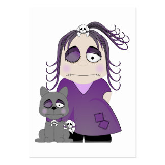 Patched Gothic Girl And Cat In Purple Business Card Templates
