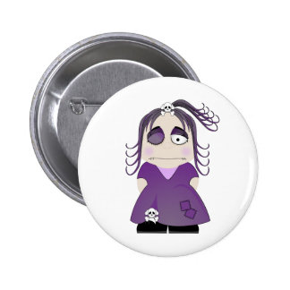Patched Gothic Girl In Purple 2 Inch Round Button