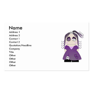 Patched Gothic Girl In Purple Business Card Templates