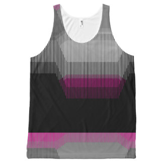 Patched Stripes All-Over-Print Tank Top