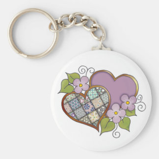 Patchwork 04 Purple Basic Round Button Keychain