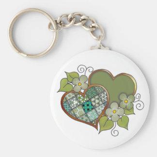 Patchwork 06 Dark Leaf Green Basic Round Button Keychain