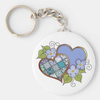 Patchwork 09 Tropical Sky Blue Basic Round Button Keychain