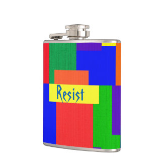 Patchwork Abstract Quilt Rainbow Resist Flask
