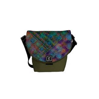 Patchwork Abstract Shoulder Bag, Olive Commuter Bag