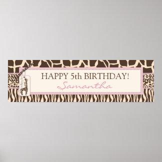 Patchwork Animal Prints & Giraffe Birthday Banner