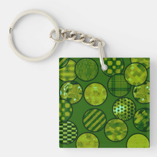 patchwork balls,green Double-Sided square acrylic keychain